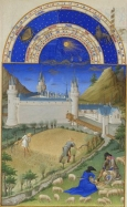 Month February with Zodiac Sign from a Book of Hours